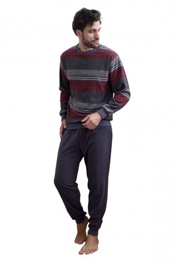 Heren badstof pyjama Normann 93708-50-Grijs