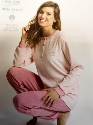 Dames pyjama badstof velours 651556