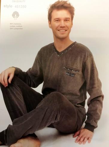 Heren pyjama badstof velour 451350