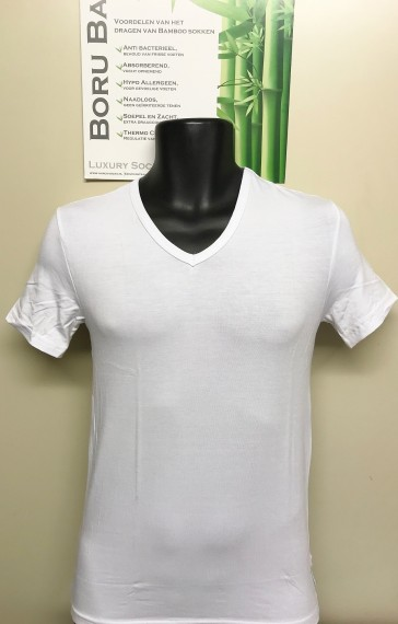 Boru Bamboe heren shirt V hals wit