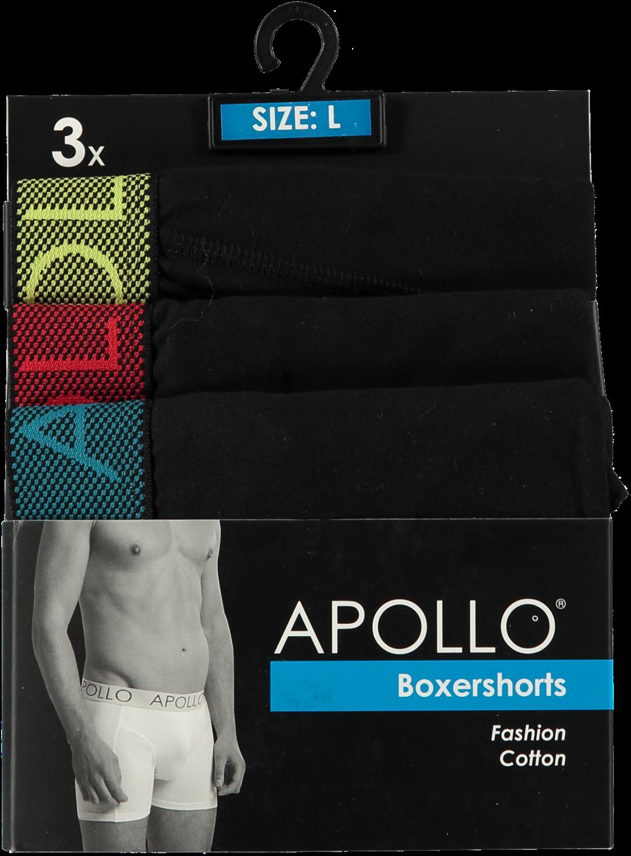 3 pak Apollo heren boxershort zwart 100-L