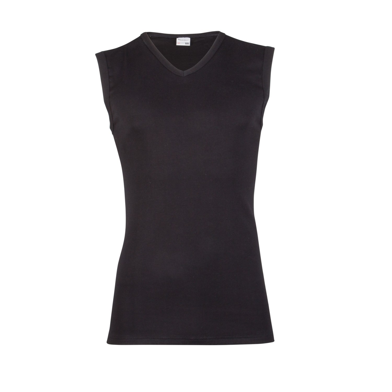 Beeren 100% katoen mouwloos shirt V hals-M-Zwart