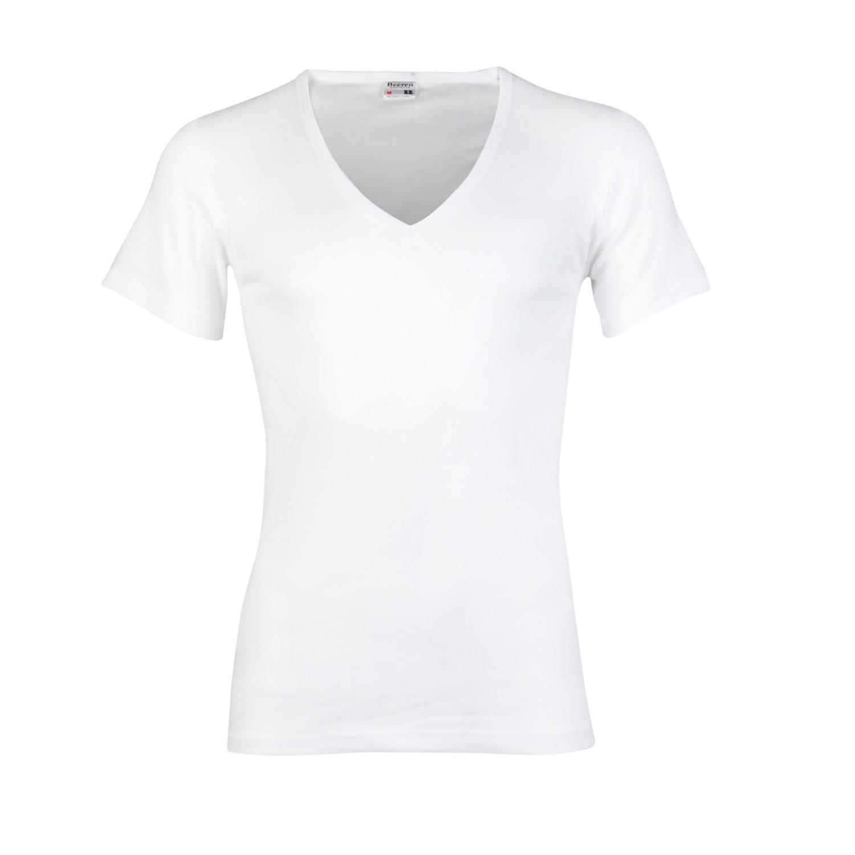 Beeren 100% katoen shirt diepe V hals korte mouw-L-Zwart