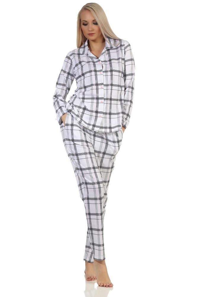 Dames doorknoop pyjama Normann 90446-S 36/38