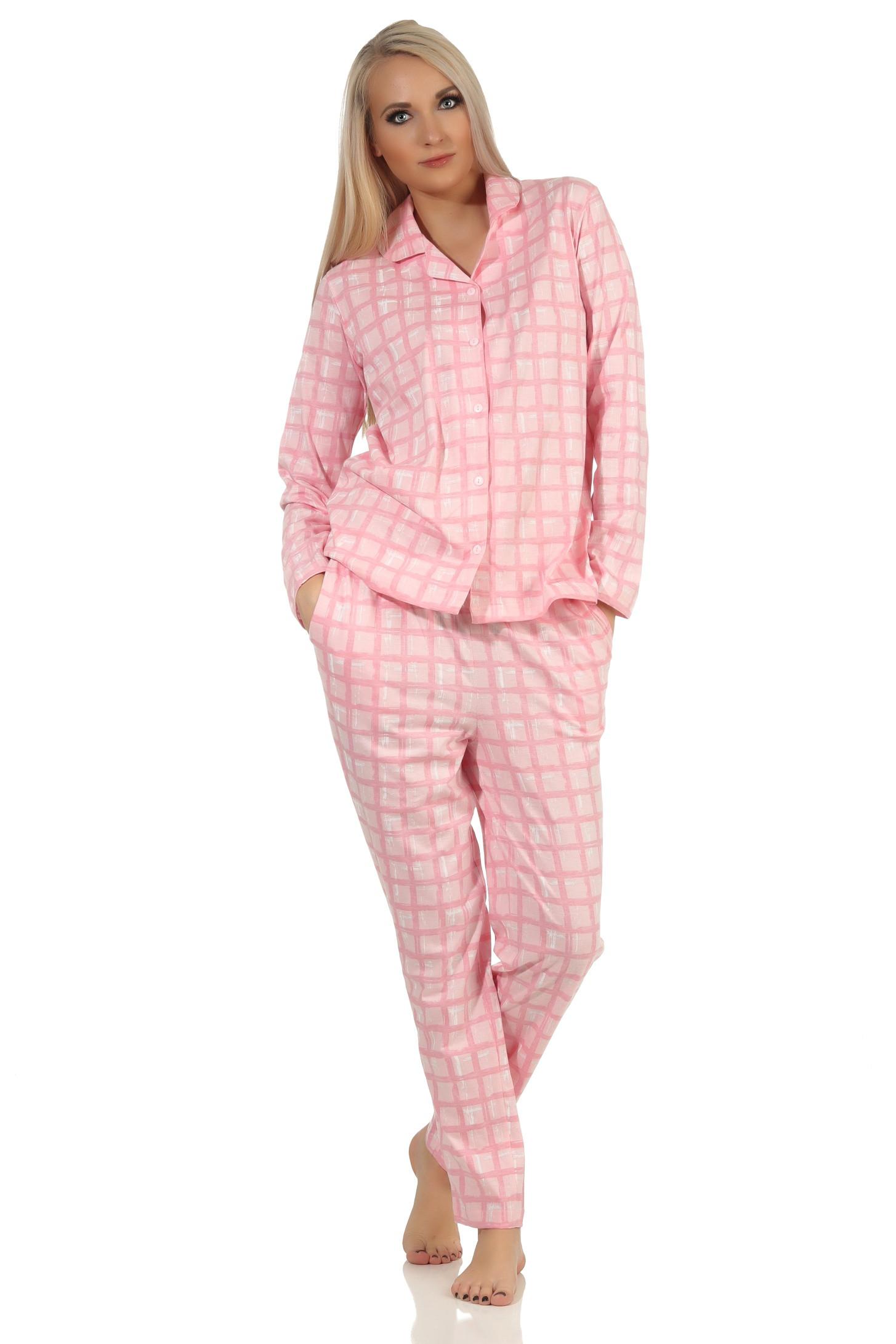 Dames doorknoop pyjama Normann 20190946-L 44/46-Rose