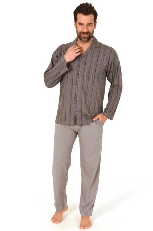 Heren doorknoop pyjama Normann 10190519-M/50-Blauw
