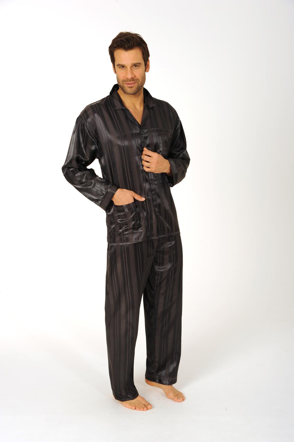 Heren pyjama satijn 94010-56-Donker Blauw