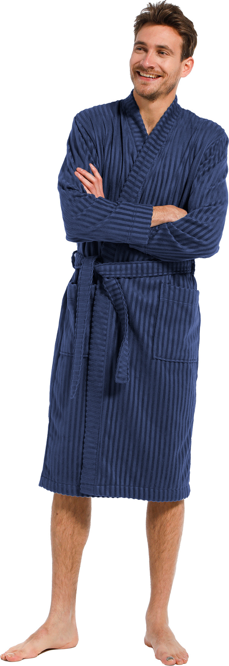 Heren badjas bamboe Pastunette 7399-651-1 donker blauw-M/50