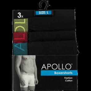 3 pak Apollo heren boxershort zwart 100