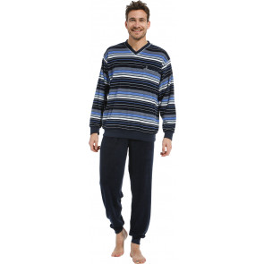 Heren pyjama badstof Robson 27212-706-2 blauw