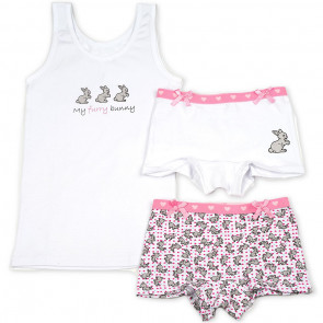 3 delig meisjes setje Funderwear 48114 konijntjes