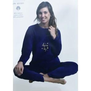 Dames pyjama badstof velour 651551