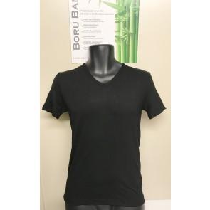 Boru Bamboe heren shirt V hals zwart