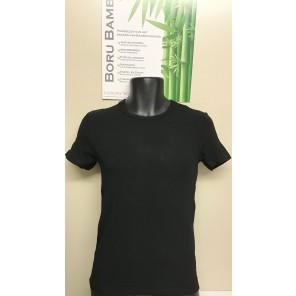 Boru Bamboe heren shirt ronde hals zwart