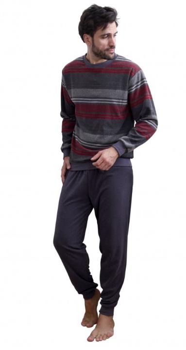 Mannenpyjama gestreept in rood en grijs
