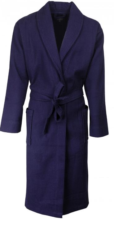 Badjas voor mannen donkerblauw patroon