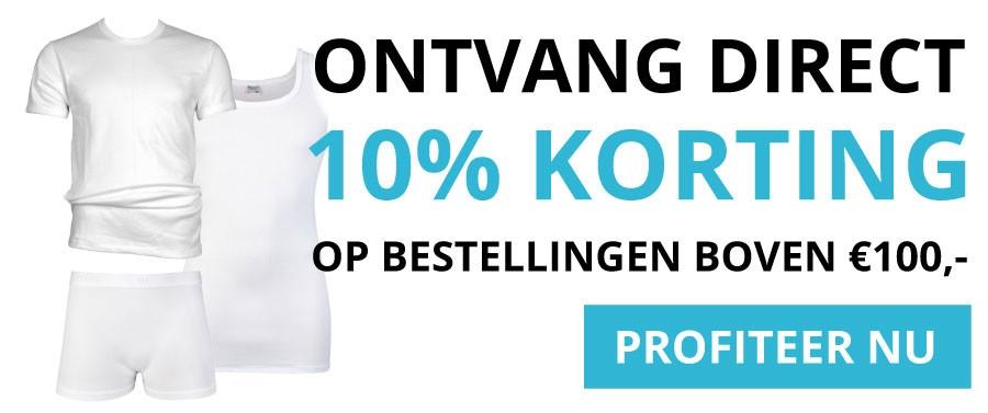 10% korting boven de 100 euro