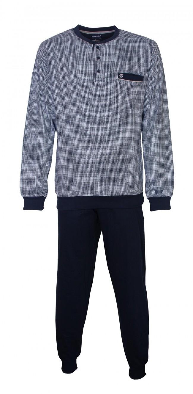 Donkerblauwe geruite pyjama voor heren